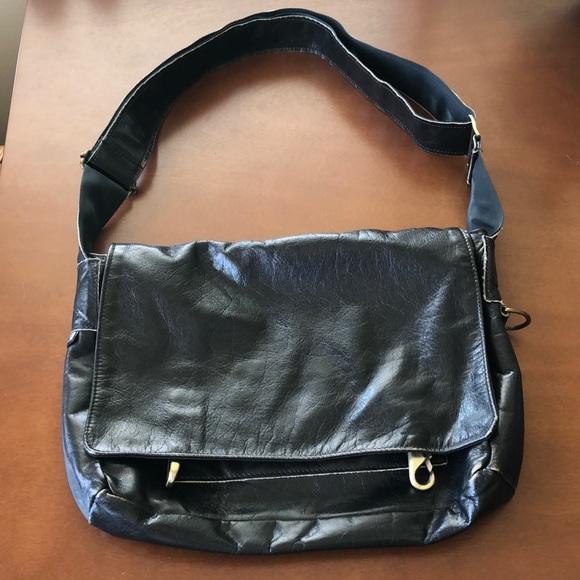 Jas M. B. Handbags - Black messenger bag with distressed finish.